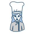 blue silhouette with half body of female chef vector image