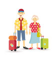 Old couple summer holiday grandparent travel flat vector image