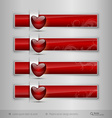 Black tabs with glossy heart Modern design vector image