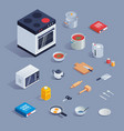 a colorful set with kitchen tools and vector image