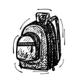 black sketch drawing of backpack vector image