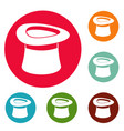 inverted hat icons circle set vector image