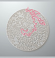 maze icon labyrinth puzzle with solution vector image