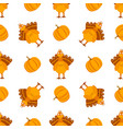 seamless pattern with turkeys and pumpkins vector image