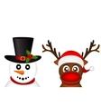 Snowman and Reindeer peeking sideways on a white vector image