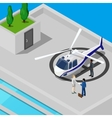 Isometric Helicopter with Business People vector image
