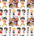 Seamless background with boys and girls vector image