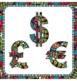 Dollars euro and pound with ethnic motifs vector image