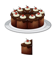 Chocolate cake with cherries vector image vector image