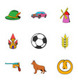 german icons set cartoon style vector image