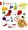 cartoon italian pizza ingredients set vector image