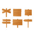 set of different wooden signboards pointers vector image