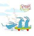 Colorful Funny Cartoon Rabbits Riding Skateboard vector image