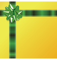 Green Yellow Present Bow and Ribbon Background vector image