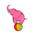 Elephant balancing on a ball icon cartoon style vector image