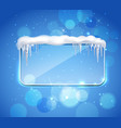 glass panel with icicles realistic vector image