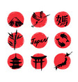 Sketch japan icons vector image