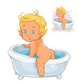 small child crawls out of the bath vector image