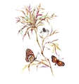 Spring butterflies on tree twig pattern background vector image