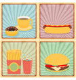 fast junk food icons flat set on retro background vector image