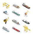 sea and river vessel isometric icons set vector image