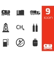 black natural gas icons set vector image vector image