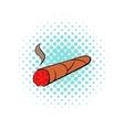 Cigar icon in comics style vector image