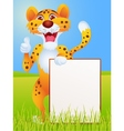 cartoon cheetah with blank sign vector image vector image
