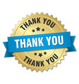 thank you 3d gold badge with blue ribbon vector image