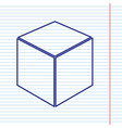 cube sign navy line icon on vector image