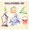 Hand Drawn Halloween characters set vector image