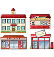 A school donut store sport shop and a post office vector image