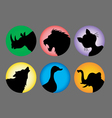 Animal Silhouette Color 1 Icons vector image vector image
