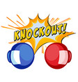Expression knockout with two boxing gloves vector image vector image