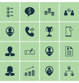 set of 16 human resources icons includes female vector image