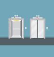 open and closed elevator doors vector image