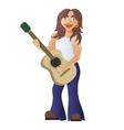 Guitarist plays acoustic guitar street guitar vector image