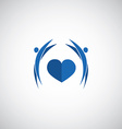 blue heart care logo vector image