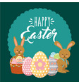 beauty bunnies with decorative baskets egg happy vector image