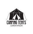 tourist camp logo or tent icon vector image