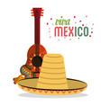 viva mexico card lettering guitar hat maracas vector image