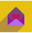 flat icon with long shadow love letter vector image