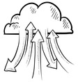 doodle the cloud upload download vector image vector image