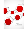 Abstract background with red hexagons vector image vector image