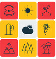 set of 9 nature icons includes sun landscape vector image