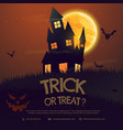 scary halloween house with moon and flying bats vector image