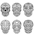 set of hand drawn sugar skulls day of the dead vector image