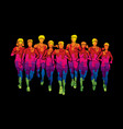 marathon runners men and women running vector image vector image