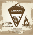 camping label bonfire and travel bus vector image