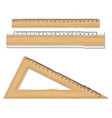 wood school rulers isolated on white background vector image